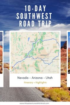 This 10-day southwest road trip USA itinerary is perfect for those who want to see the best parts the southwest has to offer. This itinerary takes you through some of the best national parks, hikes, and incredible views in Nevada, Arizona, and Utah. This is an American road trip you'll remember for years to come. The perfect itinerary for a 10-day road trip in the American Southwest.| Southwest Road Trip | Southwest Road Trip Map | American Road Trip | Road Trip Destinations | Road Trip USA Road Trip Map, Road Trip Destinations, Road Trip Hacks, Amazing Destinations, Usa Travel Guide, Travel Usa, Globe Travel, Travel Tips, Costa Rica
