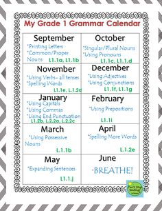 Grammar Grade 1 Common Core Aligned- All you need including calendar and printables with standards plugged in to each activity $6