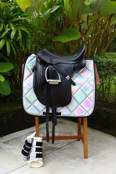 By the end of today/tomorrow we are expecting this set to arrive! High-quality dressage holographic saddle pad will definitely make you and your horse stand out! 💜Thick padding for extra shock absorbtion. The whole set will be a Equestrian Boots, Equestrian Outfits, Equestrian Style, Equestrian Fashion, Jumping Saddle, Dressage Saddle, Jumping Horses, Horse Saddles, Horse Tack
