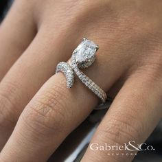 Gabriel NY - Voted #1 Most Preferred Fine Jewelry and Bridal Brand. 18k White/Rose Gold Pear Shape Halo  Engagement Ring