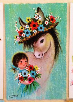 Risultati immagini per card vintage kitsch Vintage Illustration, Illustration Sketches, Vintage Greeting Cards, Big Eyes, Vintage Paper, Vintage Children, Kitsch, Flower Prints, Flower Power