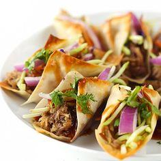 Hawaiian BBQ Pork Wonton Tacos - an easy slow cooker dish!