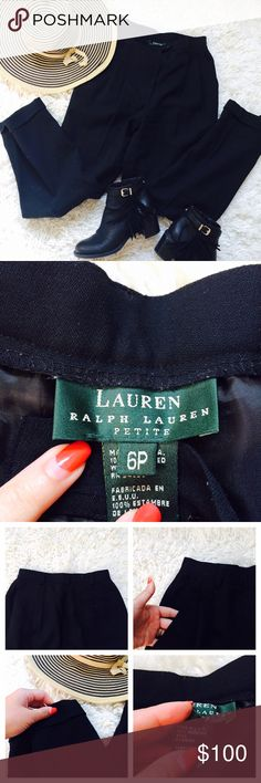 Vintage Ralph Lauren High Waisted Wool Pants Vintage Ralph Lauren High Waisted Wool Pants! Fully lined, has belt loops, front pockets, and one back pocket. Has a small cuff on each pant leg held by a thread. Great condition, no tears or stains!! Ralph Lauren Pants
