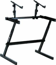 """Quik-Lok Z-726 Keyboard Stand by Quik-Lok. $139.99. The Quik-Lok Z-726 music keyboard stand's ultra-rugged contruction and cool Z design make it perfect for hard road use. 34"""" wide. Base tier is 19-3/4"""" deep. Top tier is 12"""" deep. Height adjusts from 26-1/3"""" to 33-1/3"""". Height between tiers adjusts from 9-1/4"""" to 12-1/4"""". Top tier has adjustable angles. Holds 250 lbs. total, top tier holds 75 lbs."""