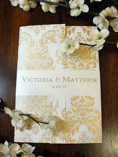 Sarahie11 Lace Gold Damask Fl Hand Made By Lavenderpaperie1 7 00 Wedding Stationaryindian Invitationsevent