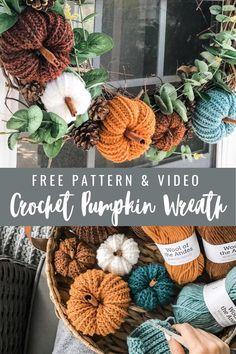 Crochet Fall Decor, Crochet Wreath, Crochet Christmas Decorations, Thanksgiving Decorations, Autumn Crochet, Crochet Pumpkin Pattern, Holiday Crochet Patterns, Quick Crochet Patterns, Free Crochet