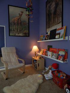 New reading corner using Mosslanda shelves from Ikea.