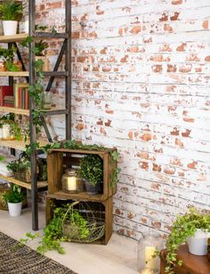 It might look like intricate brickwork or lightly cracked industrial-style concrete, but these surfaces are all wallpaper!