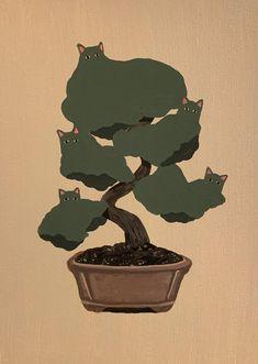 Bonsai, Psychedelic Art, Art Sketchbook, Aesthetic Art, Cat Art, Collage Art, Art Inspo, Art Reference, Art Projects
