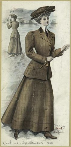"""Ladies fashion wear for the sport of fishing - Captioned: """"Fishing - English"""", c.1908. The ensemble includes; a two piece skirt suit, a hat, leather boots, and a fishing pole. ~ {cwl} ~ (Image: NYPL)"""