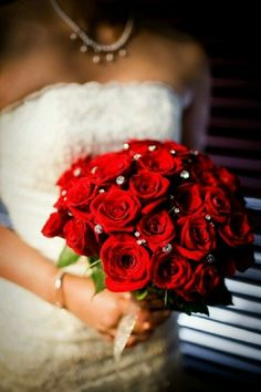 Wedding Bouquet Red Roses with some sparkle