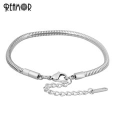 REAMOR Adjustable Expandable Snake With Extend Chain Titanium Stainless Steel For European Big Hole Beads Charms Bracelet PSB054