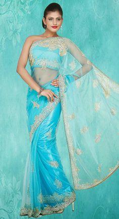 Enigmatic Cyan Blue #Saree