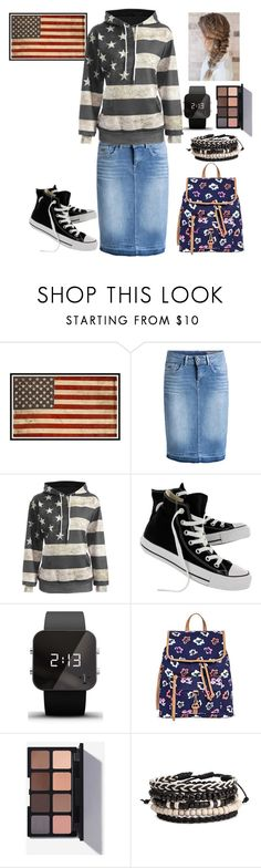 """""""I love America! After all my mom's an American!"""" by missbeth1897 ❤ liked on Polyvore featuring Pottery Barn, Converse, 1:Face and Merona"""