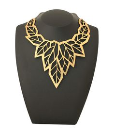 Geo Leaf Necklace Gold | Doury