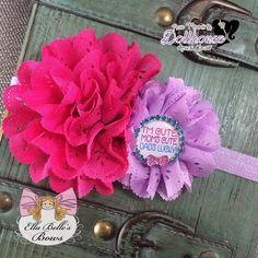 """""""Im Cute, Moms Cute, Dads Lucky"""" Headband Just Sayin' An Auction Style Event Opens 3/3/15 at 5 PM CST Closes at 3/5/15 at 9 PM CST Purchase Here: www.facebook.com/dollhousedesigngroup"""