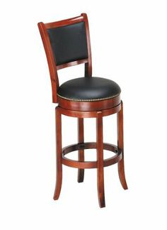 """ACME 07196 Cherry Finish Wood 29""""H High Back Swivel Bar Stool by ACME. $90.04. Irish Pub Style. Leather Seat and Back. Cherry Finish. 29"""" Swivel. This luxurious Chelsea Swivel Bar Stool in Oak is a beautiful combination of true elegance and function. With rich oak finish frame and black upholstery, it will add an additional touch of style to your home's smaller dining or kitchen space that you've been looking for. Combine with the Chelsea bar table (sold separately) t..."""
