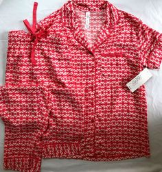 46a434c91c0b3 Gilligan  amp  O Malley 2pc Coral White Trim Pajama Sleepwear Set Size XS