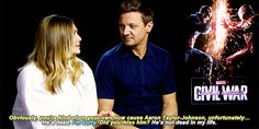 Elizabeth Olsen talking about Aaron Taylor-Johnson.