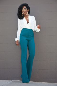 Faux Wrap Blouse x High Waist Trousers