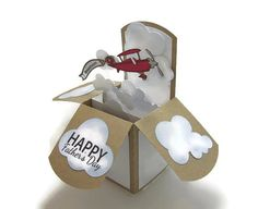 Father's Day Card - Pop Up Card - Masculine Happy Birthday Card - Vintage Airplane - Gift - World's Best Dad - Grandfather Customizable