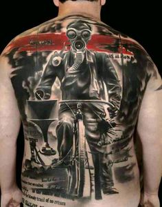 By artist Volko Merschky, apocalypse tattoo, gas mask, bicycle, abstract, red ink, black ink