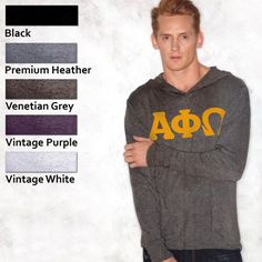 Fraternity Hooded Tri-Blend Longsleeve Tee with Flock