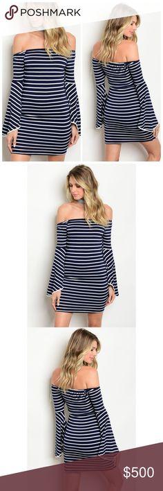 Striped off shoulder mini dress Long bell sleeve off the shoulder striped bodycon dress BellaBae Dresses Mini