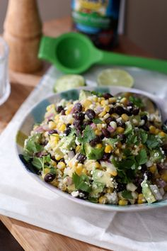 Fresh summer corn paired up with black beans make a perfect side dish to any summer meal. Serve alongside tacos, over grilled fish or on it's own as a vegetarian dish.