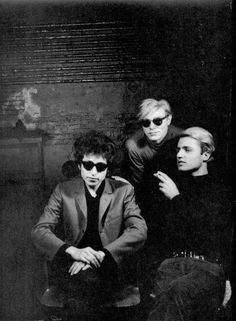 Bob Dylan, Andy Warhol, Gerard Malanga at The Factory.