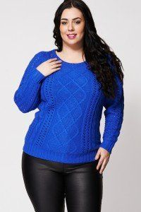 Blue Cable Knit Jumper With Cut Out Design. Mixed cable knit design ladies jumper with cut-out styling. Cable Knit Jumper, Knit Cowl, Plus Size Tops, Plus Size Women, Latest Clothing Trends, Clothing Co, Elegant Clothing, Plus Size Sweaters, Cut Out Design