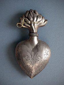 antique Pewter Sacred Heart Ex-Voto Vial