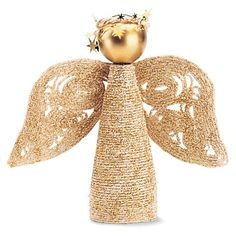 Glittery Angel -  What you'll need A one-litre plastic soda bottle String Craft glue Glitter Small ball ornament Piece of gold tinsel