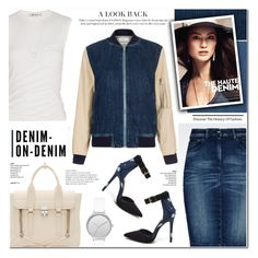 """Double Down on Denim"" by anyasdesigns ❤ liked on Polyvore featuring 3.1 Phillip Lim, Armani Jeans, Paul Smith, Alexander Wang, Skagen and Tiffany & Co."