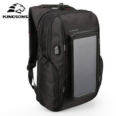 Kingsons Backpacks 15.6 inches Solar Panel External Charging USB Laptop  Bags men travel bags Business backpacks f4932be618a8a