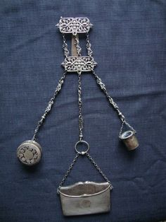 Exquisite Chatelaine, Sterling Silver, Victorian design made by Mappin & Webb