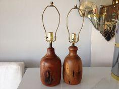 Mid Century Modern Vintage Pair Wood Lamps by FLORIDAMODERN33405, $450.00
