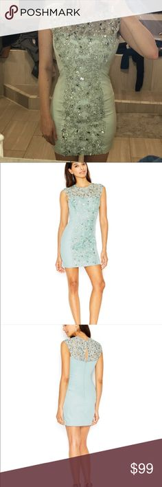 NEW French connection Encrusted Lace Sheath Dress As seen on many celebrities. Brand new with tags attached! Only selling because it's tight on my bust. Dazzle in this encrusted lace sheath dress from French Connection when you want to stand out in a crowd at a special event. French Connection light blue sateen dress with sequin and beaded details. Round neckline. Cap sleeves. Cut out yoke with slit keyhole in back. Hidden back zip. Nips in at natural waist. Straight skirt and hem…