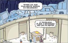 Charge do Lute sobre a declaração do presidente Temer sobre a saída do Brasil da recessão (02/07/2017) #Charge #Lute #Política #Recessão #Michel #Temer #MichelTemer #HojeEmDia