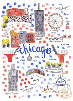 Chicago Map Print by EvelynHenson on Etsy try to draw a version of this with my own fav chicago landmarks
