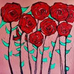 Helen Holmes Red Roses for a Valentine - 2015 Acrylic and Charcoal on canvas 70 x 70 cm 'RED' - Expressionism Group Exhibition at SOFITEL Gold Coast