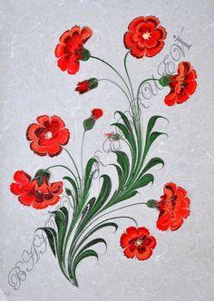 Ebru Art, Turkish Art, Marble Art, Handicraft, Tapestry, Floral, Fabric, Flowers, Paper Marbling