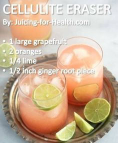 Want to get rid of that cellulite (lumpy fat deposits under the skin)? Grapefruit juice is one of the best fat-burning foods and a cellulite remover. Helps improve blood circulation Burns excess fats effectively Detoxifies and removes Healthy Juices, Healthy Smoothies, Healthy Drinks, Smoothie Recipes, Healthy Recipes, Detox Juices, Detox Recipes, Healthy Water, Best Juicing Recipes