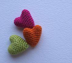 Set of 3 Crochet Hearts MINI. 14 colors to by maricatimonsina