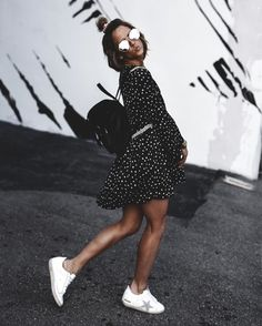Summer dress + sneakers.