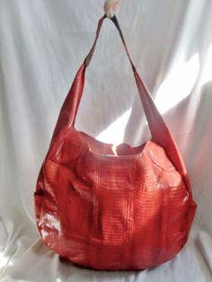 AUGUST FOR PERIWINKLE Leather Snakeskin Python Hobo Handbag Shoulder Bag Satchel ORANGE