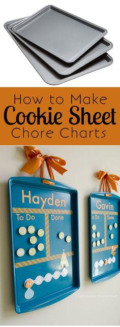 Aus einem Kuchenblech eine Magnetwand für Kinder basteln *** DIY How to make Cookie Sheet Chore Charts. Cheap + easy to make. Love the magnet idea!