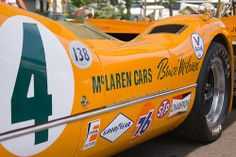 This McLaren is an original, ex-Bruce McLaren car. McLarens were dominant in the Can-Am long before they became a force in Formula One and Champ Car. To this day, bright orange is still identified as a McLaren color. Vintage Sports Cars, Vintage Auto, Vintage Cars, Slot Cars, Race Cars, Course Automobile, Bruce Mclaren, Mclaren Cars, Speed Racer