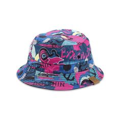 Timeless Reversible Bucket Hat in Navy Pink+Dolphin ($40) ❤ liked on Polyvore featuring accessories, hats, pink dolphin, navy bucket hat, pink bucket hat, pink hat, navy blue hat and fishing hats