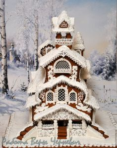 """Russian Fairy Tale"" - a big gingerbread chimney - buy in online store on Masters Fair with delivery - Gingerbread House Designs, Gingerbread Village, Christmas Gingerbread House, Gingerbread Man, Christmas Treats, Christmas Baking, Gingerbread Cookies, Christmas Cookies, Cracker House"